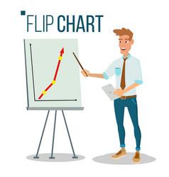 flip chart seminar concept man showing vector image