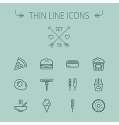 Food thin line icon set vector