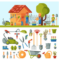 garden farm instruments tools and farmer family vector image