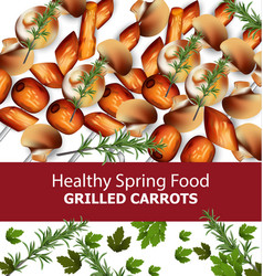 Grilled carrots menu template realistic vector