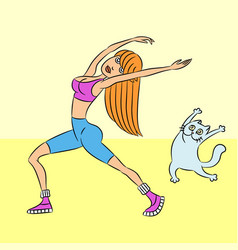 Gymnastics with cat vector