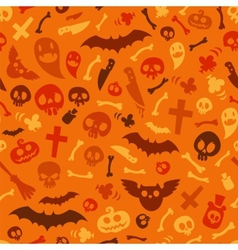 Halloween symbols seamless pattern orange vector