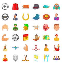 Horseshoe icons set cartoon style vector