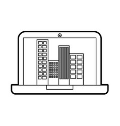 Laptop with buildings cityscape scene vector