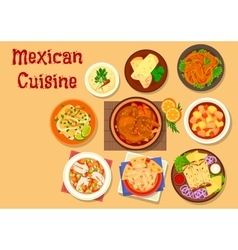 Mexican cuisine meat and fish dishes icon vector