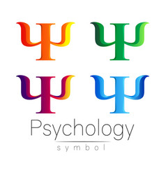 Modern sign set of psychology psi creative style vector