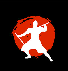Ninja warrior silhouette on red moon and black vector