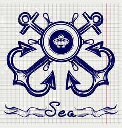 Royal fleet emblem on notebook page vector