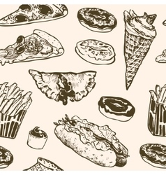 Seamless pattern fast food hamburger vector