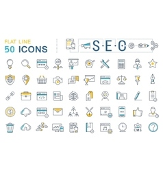 Set flat line icons seo vector