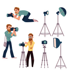 Set of cartoon photographers at work and vector
