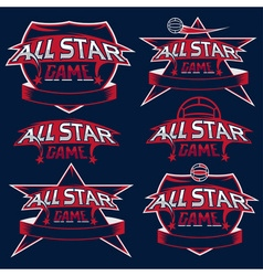 set of vintage sports all star crests with soccer vector image