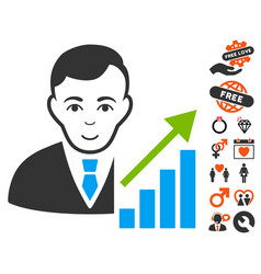 Stock trader icon with lovely bonus vector