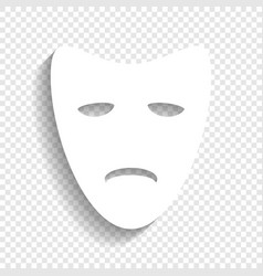Tragedy theatrical masks white icon with vector