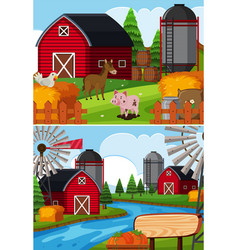 Two farm scenes with animals and barns vector