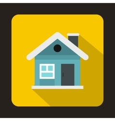 Small blue cottage icon flat style vector