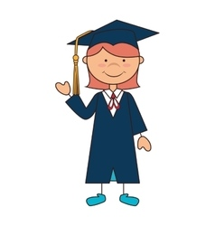 Girl graduate gown school vector
