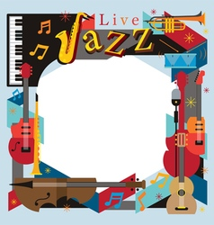 Jazz music instruments frame vector