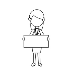 Businesswoman character avatar with label vector