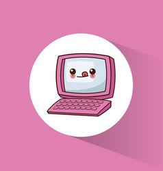 kawaii computer technology image vector image
