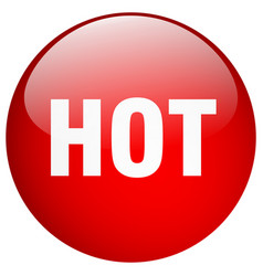 Hot red round gel isolated push button vector