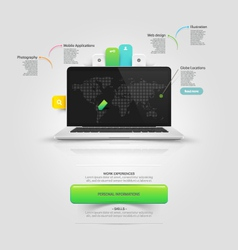 Website templare elements v-card mock-up template vector