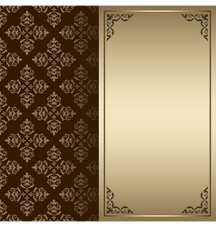 Dark brown and gold vintage card vector