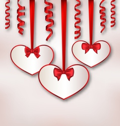 Set card heart shaped with silk ribbon bows and vector