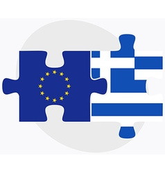 European union and greece flags in puzzle isolated vector