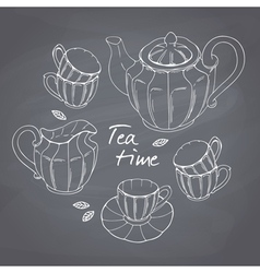Hand drawn tea porcelain service set chalkboard vector