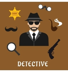 Detective and spy profession flat icons vector