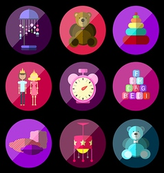 Childrens toy icons vector