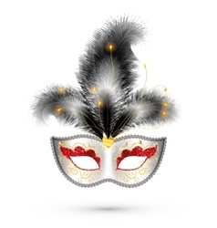 White carnival mask with red glitter eyes and vector