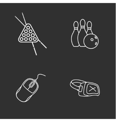 Four flat game icons vector