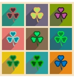Concept of flat icons with long shadow clover vector
