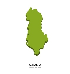 Isometric map of Albania detailed vector image