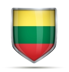 Shield with flag lithuania vector