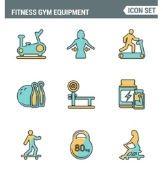 Icons line set premium quality of fitness gym vector