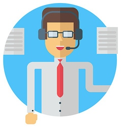 A businessman in headphones speaking colored flat vector