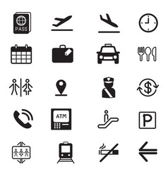 Airport silhouette icons set vector