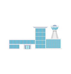 airport terminal with flight control tower icon vector image
