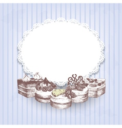 Blue retro background with hand drawn cakes vector