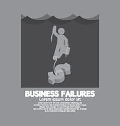 Businessman Drowning In The Water Business vector image
