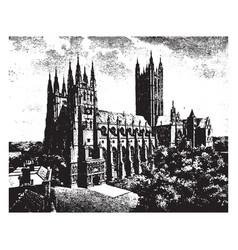 Canterbury cathedral archbishop debate vintage vector