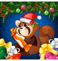 Cartoon raccoon with gift vector image