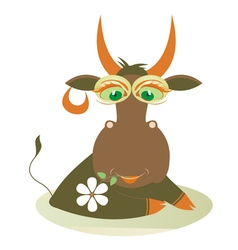 Cute cow with a flower vector