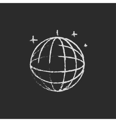 Disco ball icon drawn in chalk vector image
