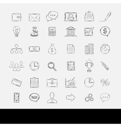 Doodle business icons vector