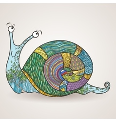 drawing of a snail in a variety of fun vector image
