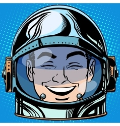 Emoticon laughter emoji face man astronaut retro vector